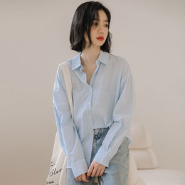 Wholesale blue long underpants for sale - Group buy LaCYn casual blue striped loose long sleeve Autumn Korean style women s Underpants base all match mEaB shirt shirt