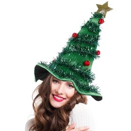 Wholesale father christmas costumes for sale – halloween 2020 Christmas Tree Hat On Headband Father Christmas Xmas Party Santa Fancy Dress Costume Hat Holiday decorations Headgear
