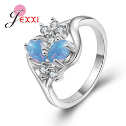 wholesale statement rings Australia - Fashion 925 Sterling Silver Crystal Special Design Opal Rings For Women Femme Ring Vintage Statement Jewelry Lover Gift