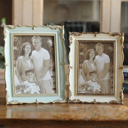 resin photo frame picture UK - Rose Resin Photo Frame 6 Inch 7 Inch Vintage Photo Frame Home Decor Retro Wooden Wedding Couple Pictures Frames Gift Ornament BH1667 CY