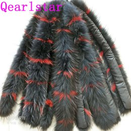 men real fur scarves 2021 - Qearlstar 100% Real Raccoon Fur Collar Natural Fur Colorful Decorate Scarves 75cm Luxury High Quality Woman Men Collar Z341