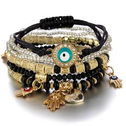 Evil Eye Charms Bracelets Fashion Design Fatima Hamsa Hand Bracelet Bangles for Women Multilayer Braided Handmade Men Beads Jewelry Pulseras on Sale