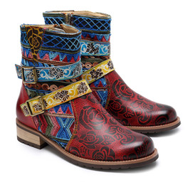bohemian style boots Australia - Export Bohemian Style Ins Leisure Ethnic Style Genuine Leather Handmade Gypsy Gothic Style Women's Boots Safety Shoes shoes