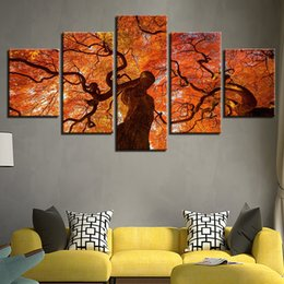 autumn painting framed art 2020 - Canvas Art Print Module Painting Frame Poster Wall 5 Panel Autumn Tree Scenery Picture Home Decoration Kids Room discoun
