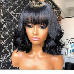 nature human hair inches Canada - Remy Human Hair Wigs full machine made wigs no Lace Curly Wigs With Bangs Baby Hair Pre Plucked Peruvian Fringe Wig