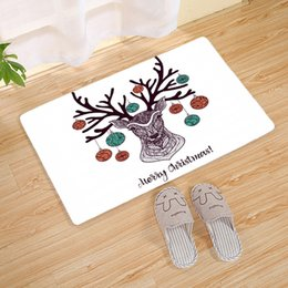Discount home made christmas decor Elk Deer Printed Doormats Christmas Thicken Hallway Porch Rug Non-slip Water Absorption Bathroom Pad Machine Washable Ho