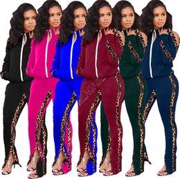 Wholesale plus size women sports wear resale online – Plus Size Women piece Clothing Set Winter Tracksuit Zipper Jacket Coat and Split Leggings Pants Outfit Sweatsuit Casual Sports wear D9705