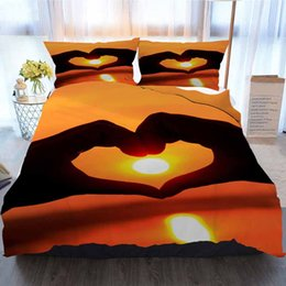 heart shaped beds NZ - Sunset Bedding 3 Piece Duvet Cover Sets,Hands In Heart Shape Framing Sunset,Home Luxury Soft Duvet Comforter Cover