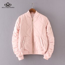 Wholesale quilting jackets resale online – Bella Philosophy autumn winter quilting bomber jacket women coat zipper long sleeve winter jacket cotton padded pink outwears