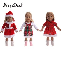 girls dress up clothes NZ - 18inch Doll Christmas Clothes Dress Hat Set for American Girl Doll Dress up Christmas Toy Gifts