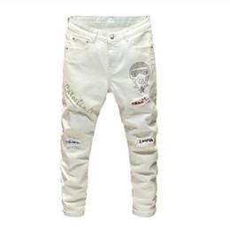 Wholesale slim fit jeans streetwear resale online – designer New Men s male casual fashion crystal patchwork white jeans Streetwear slim fit patch design stretch denim pants trousers