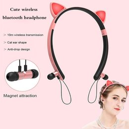 cartoon headset headphone Australia - LED Glowing cartoon girl headband cat ear bluetooth Headphones stereo True Wireless headset with microphone for phones