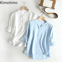 Discount womens office blouse Kimotimo Women Shirts Elegant V-neck Office Lady Solid Work Shirts Casual Summer Autumn Fashion Womens Tops and Blouses