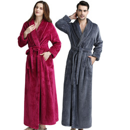 Wholesale mens flannel robe for sale - Group buy Autumn Winter Womens Robes Mens Sleepwear Solid Color Thicked Flannel Nightgown Bathrobe Fashion Casual Couples Housewear Robes
