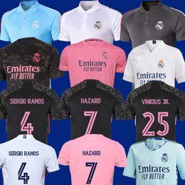 Wholesale 2020 2021 REAL MADRID Third 20 21 soccer jersey HAZARD SERGIO RAMOS BENZEMA VINICIUS Home camiseta football shirt uniforms men + kids kit
