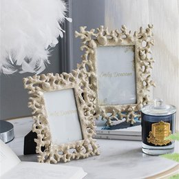resin photo frame picture UK - Mediterranean Coral Shell Photo Frames INS Style Conch Resin Pictures Certificates Frame Wall Desktop Decoration Craft 6 7 8Inch
