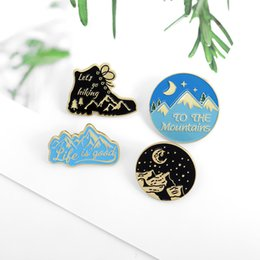 blue moon jewelry Canada - New Cartoon Cute Beautiful Landscape Brooches Snow Mountain Round Shoes Moon Enamel Pins Metal Blue Black Badge Lapel Denim Jewelry