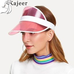 green plastic visors UK - Kajeer New Summer Unisex Women Men Sun Hat Candy Color Transparent Empty Top Plastic PVC Sunshade Hat Visor Caps Bicycle Sun