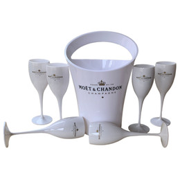 Vente en gros 6 Coupes + 1 seau seau à glace et vin en verre acrylique 3000ml Gobelets champagne mariage verres Wine Bar Party bouteilles de vin