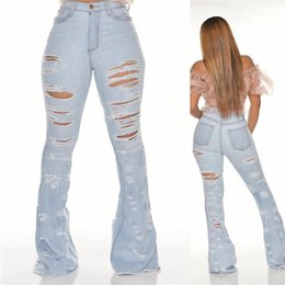 light wash flare jeans Australia - Tassel Flare Jeans Fashion Washed Light Blue Skinny Pants Slim Fit Mid Waist Jeans Womens Ripped