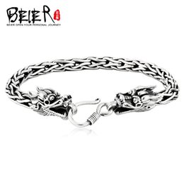 bangle silver dragon Australia - Beier 2020 NEW SOTRE Silver color Bangles Double-headed dragon top quality Bracelet for man JEWELRY SCTYSL0155