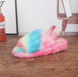 kids men women furry slippers australia fluff yeah mulitcolor slide designer pantoufle casual fashion sandals fur slides s
