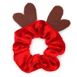 2020 Women Girls Christmas Hair Tie Xmas Elastic Hair Ring INS Ponytail Holder INS Large Intestine Hairbands Scrunchy Accessories F91201 on Sale