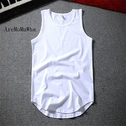 Wholesale high neck tank top men resale online - AreMoMuWha New Summer Hip Hop Long Tank Tops Man Casual O Neck Solid Cotton Vest High Street Slim Sleeveless shirt QX029