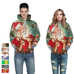 Wholesale winter sweatshirts for men for sale - Group buy Designers Santa Claus Christmas Snowflake Casual Couple Hooded Sweater Autumn Winter Long Sleeve Pullover Jacket for Men Women S XL D9301