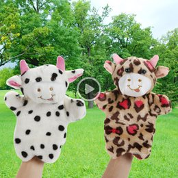 soft toy cow NZ - 1 Pc Cute Milk Cow Hand Puppet Glove Baby Kids Child Educational Soft Doll Plush Toy Glove 2 Styles For Choose