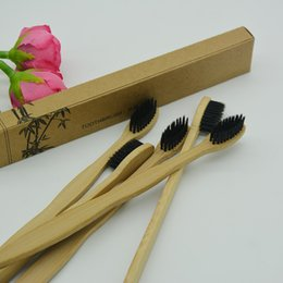 bamboo charcoal toothbrushes UK - Cheapest!!! BambooToothbrush black Bristle Made with Bamboo Charcoal ECO-Friendly Disposable Toothbrushes wiht craft paper box custom logo