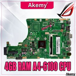 mainboard for laptop Australia - X455WA laptop motherboard For Asus X455W X455WE X455WA X454W X454WA Mainboard 100% test 4GB RAM A4-6100 CPU