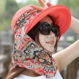 hats sun protection face cover UK - VQHCi Summer Bicycle bicycle hat large edge sun protection UV protection female cycling face cover folding top outdoor sun hat