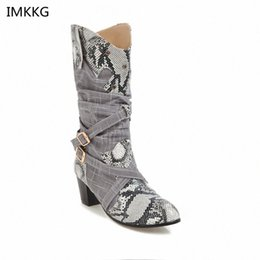 bikers boots UK - 2018 New White Women Brand Round Toe Snaseskin Boots Lady Carving Mid Calf Shoes Girl Square Heel Knight Snow Boots A689 Biker Boots B xiuQ#