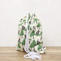 Canvas Draw Printing Womens Backpacks Large Capacity Casual Female Draw Pocket Folding Reusable Shopping Beach Girl Bag MbWj#