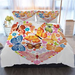 heart shaped beds NZ - Cartoon Bedding 3 Piece Duvet Cover Sets Cartoon Heart Shaped Colorful Butterfly Prophecy Love Home Luxury Soft Duvet Comforter Cover