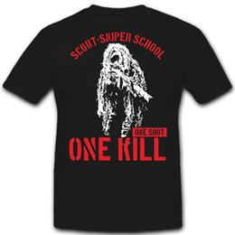 scout shorts UK - 2020 New Summer Cool Tee Shirt Scout SNIPER School one shot kill ghillie suit US Army USMC rifle Bundeswehr Funny T-shirt
