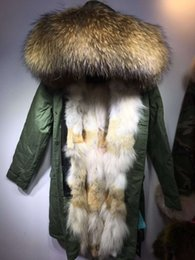 Wholesale coyote fur collar for sale - Group buy Real pictures Snow coats brown raccoon fur trim Meifeng brown white coyote fur lining women long army green parka