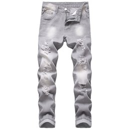 Wholesale light grey jeans resale online – designer Men ripped jeans gray slim straight men non stretch trousers destroyed brand high quality hole grey jeans male