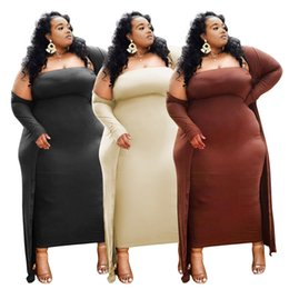 Wholesale Plus Size Women Clothing Solid Dress Sers Sexy Two Piece Party Dress 2021 New Arrivals Wholesale Dress