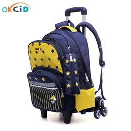 Discount backpack for wheel Stair Pen Okkid Climbing Wheels Backpack Boys Bag For Pencil School School Set Bags Bag Trolley On Star Elementary Kids