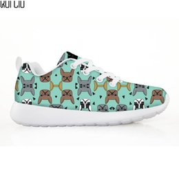 Wholesale french lace pattern resale online - French Bulldogs Children s Shoes Sneakers for Children Boys Girls Animal Dog Pattern Kids Casual Flats Comfortable Lace up Shoe