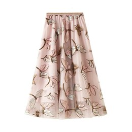 Wholesale sequined skirts resale online - Autumn Sequined Fashion Skirt Women Cute Dragonfly Embroidery Patterns Tulle Mesh Patchwork Casual Basic Skirts