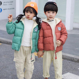 Wholesale boys zipped hoodies online – oversize NEW Girls Cotton Fashion Sport Kids Boys Girl Winter Coats Jacket Zip Thick Bear Snow Hoodie Outwear G30 C0924