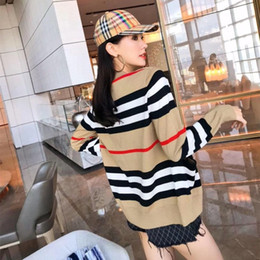 Wholesale sweater women resale online - B striped wool cardigan mid length color matching V neck sweater coat new Korean style loose all match coat