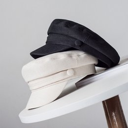 Wholesale cotton jin online – design JIN Swhbias Berets for Women Cotton Linen Solid Caps Octagonal Newsboy Summer Autumn Hat White Black Female Fashion Caps