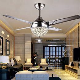 Discount crystal ceiling fan lights led ceiling fan light stainless steel ceiling fan light original crystal