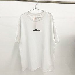 Wholesale 2020 April New MM6 Paris T-Shirt MM6 Embroidery Oversized Tops Tees Men Women 100% Cotton White T Shirts Men 1005