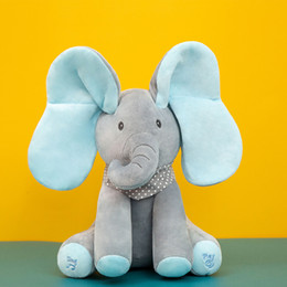 cartoon kangaroos NZ - 30cm Elephant Stuffed Plush Doll Electric Toy Talking Singing Musical Toy Elephant Play Hide and Seek for Kids toys Cartoon dolls