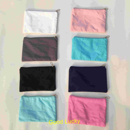 wholesale designer purse bag NZ - 10pcs lot New Arrival 8 Colors Canvas Cosmetic Bag with Satin Lining Personalize Lady Purse Makeup Bags